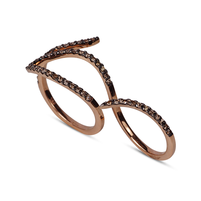 Swoonery-Le Phoenix Double-Finger Brown Diamond Ring