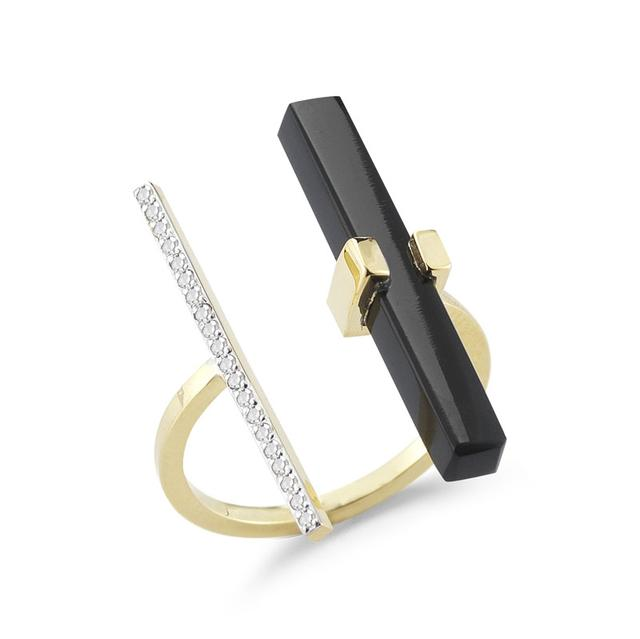 Swoonery-Onyx and Diamond Parallel Bar Ring