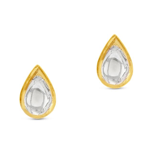 Swoonery-Kundan Vintage Diamond Teardrop Stud Earring