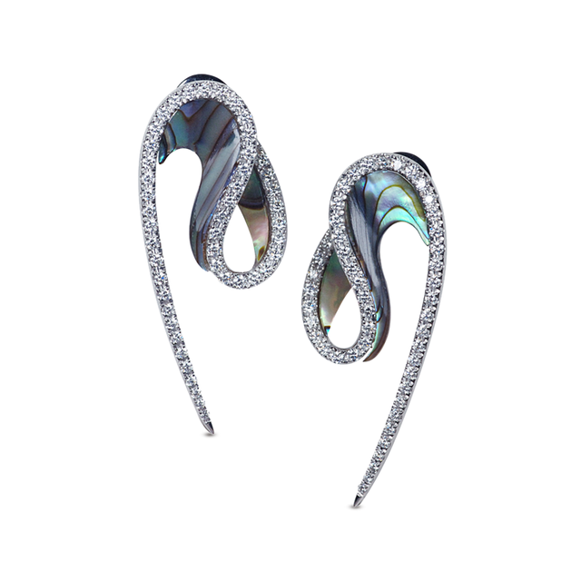 Swoonery-Abalone Wave Earrings