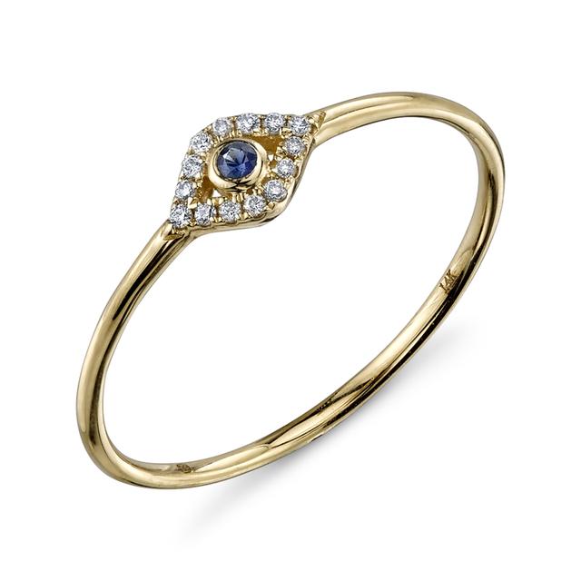 Swoonery-Small Yellow Gold Bezel Evil Eye Ring