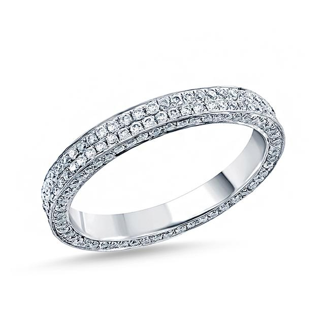Swoonery-Triple Sided Two Row Pave Band