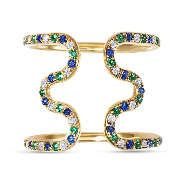 Swoonery-Open Wiggly Ring set with Blue Sapphires, Tsavorite and Diamonds