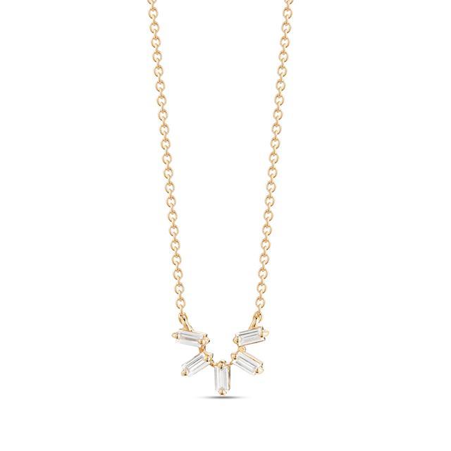 Swoonery-Sadie Pearl Starburst Baguette Necklace