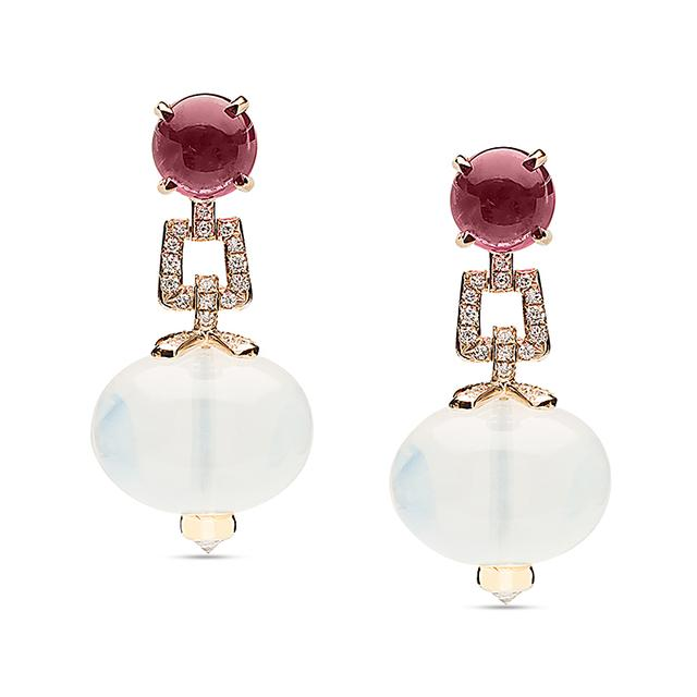 Swoonery-Beyond Collection Quartz & Garnet Earrings