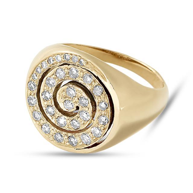 Swoonery-Diamond Spiral Pinky Ring