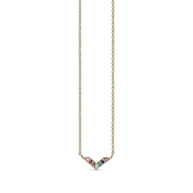 Swoonery-Rainbow Chevron Necklace