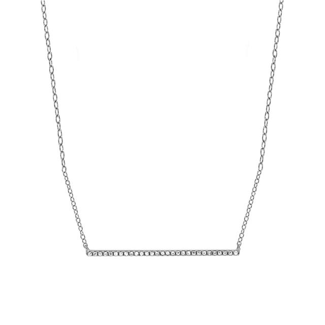 Swoonery-White Gold Bar Necklace