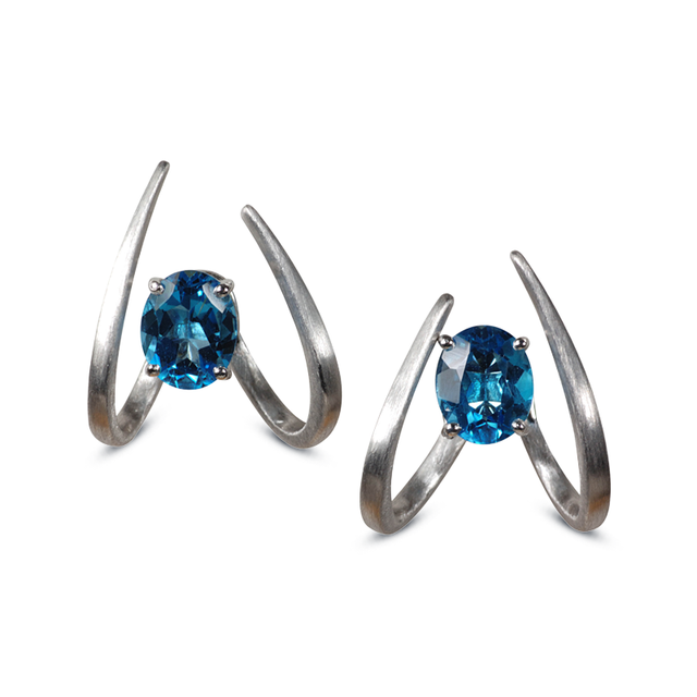 Swoonery-Le Phoenix Single Claw Blue Topaz Earrings