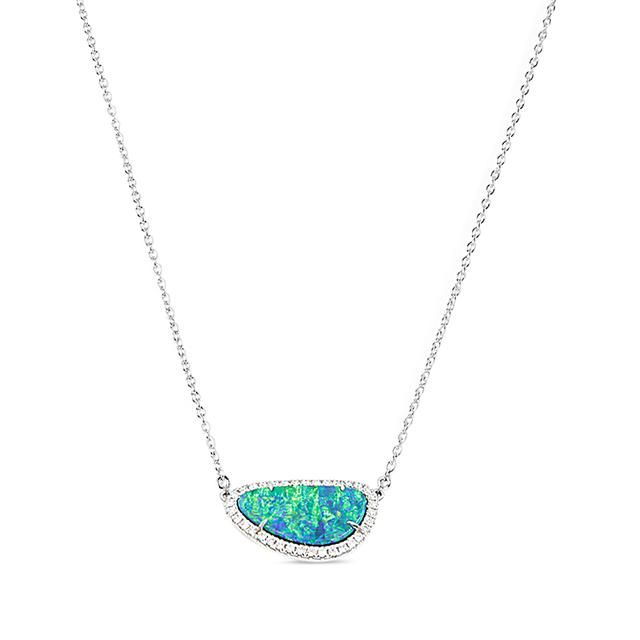 Swoonery-Slice Blue Opal Necklace