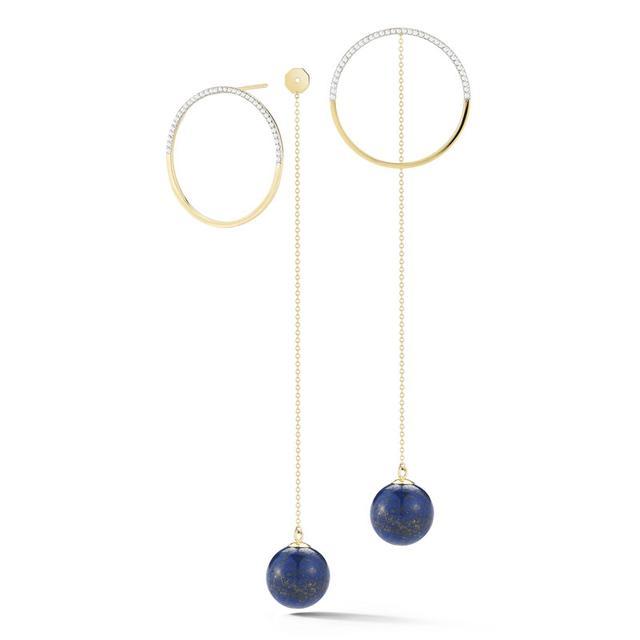 Swoonery-Half Moon Diamond hoop with Lapis Drop