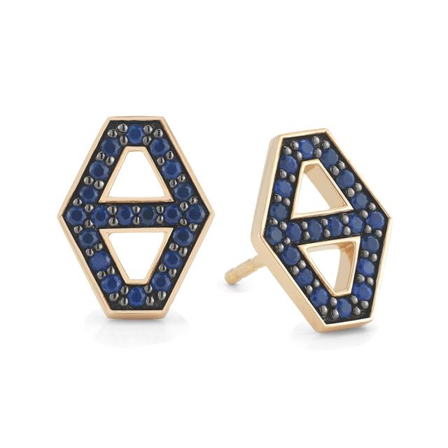 Swoonery-Keynes Small Signature Hexagon Sapphire Stud Earrings