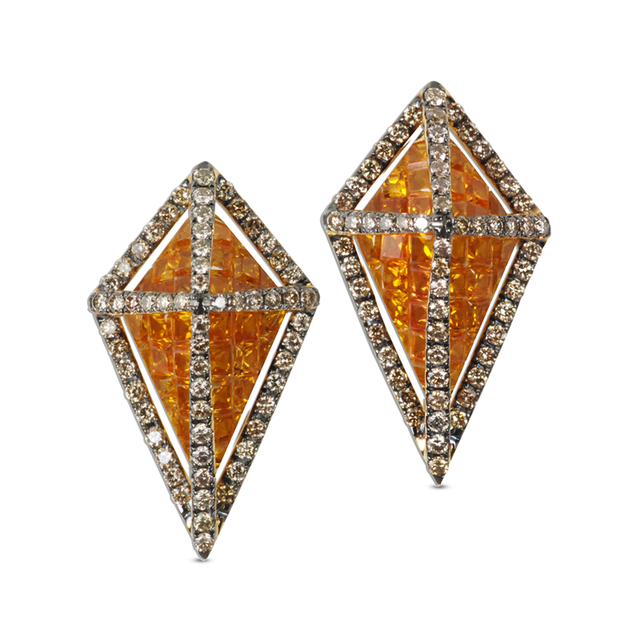 Swoonery-GeoArt Yellow Sapphire and Brown Diamonds