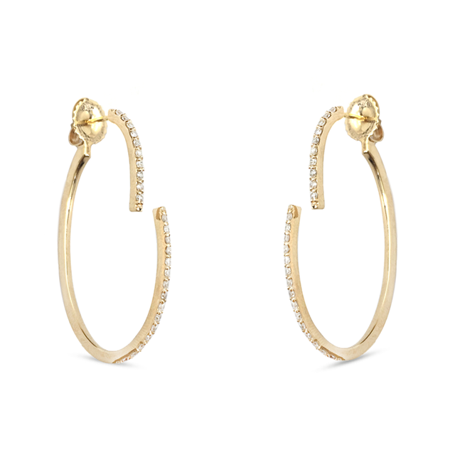 Swoonery- Converge Hoop Diamond Earrings