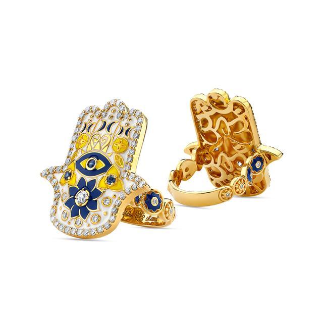 Swoonery-20K White Enamel Hamsa Ring