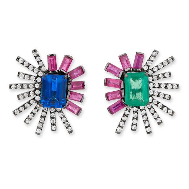 Swoonery-Duo Mini earrings - Tanzanite/Emerald