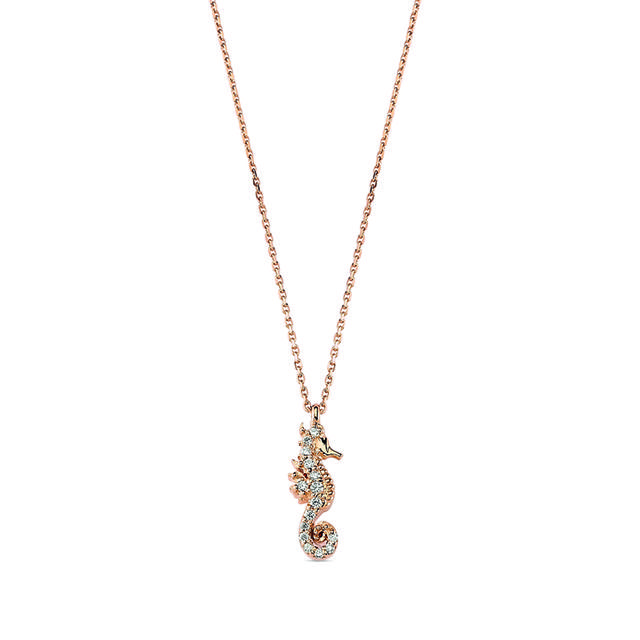 Swoonery-Aqua Light Seahorse Necklace with Diamonds