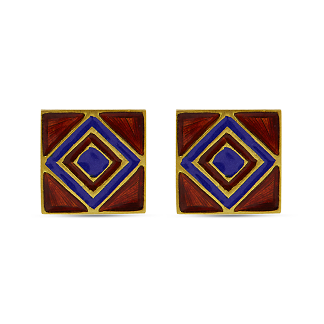 Swoonery-Blue And Red Square Holi Enamel Earrings