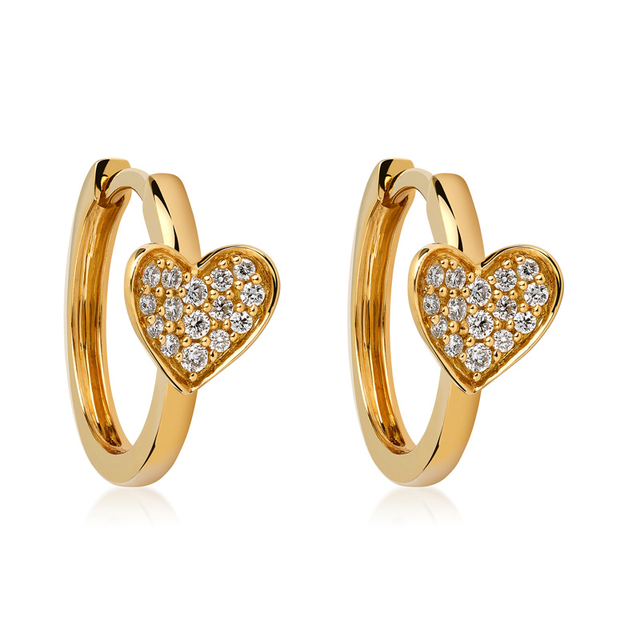 Swoonery-Yellow Gold Heart Earring