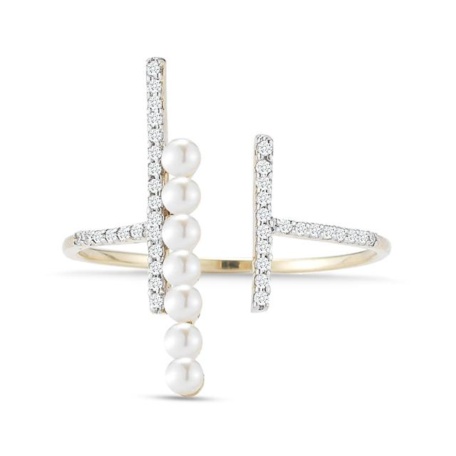 Swoonery-Diamond & Pearl Bypass Ring