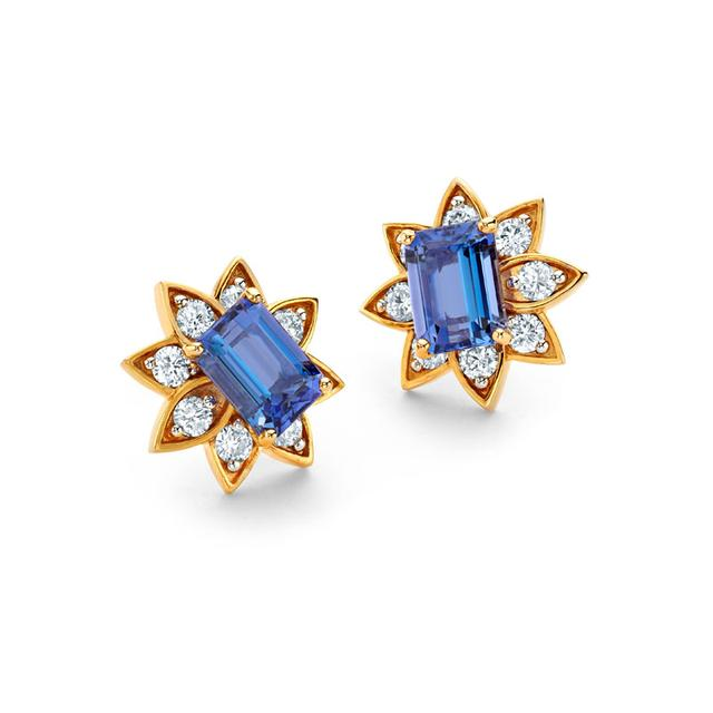Swoonery-20K Tanzanite Stud Earrings