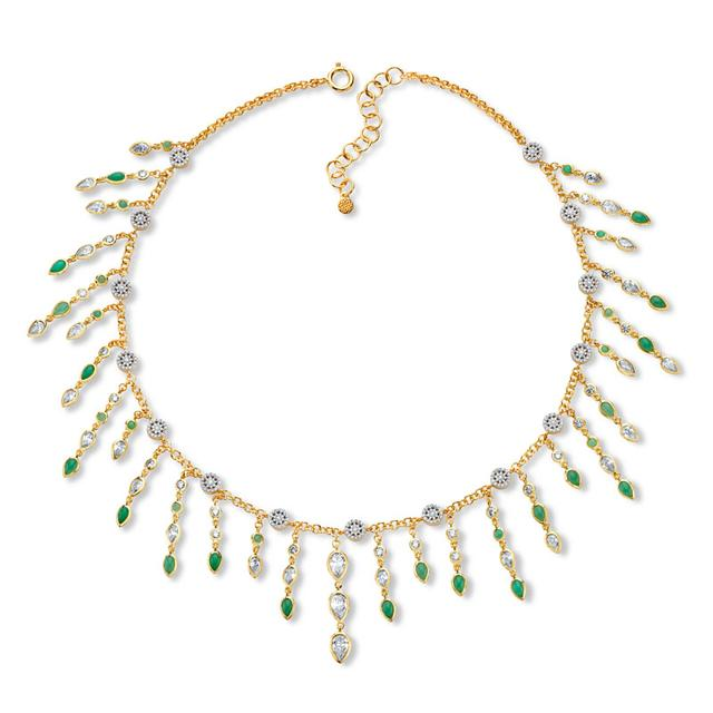 Swoonery-20K Chrysoprase Drape Necklace
