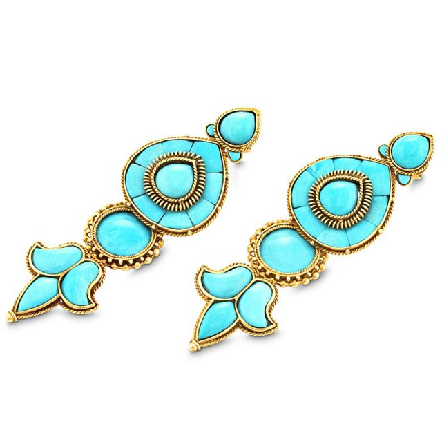 Swoonery-GOLD AND TURQUOISE CHANDELIER EARRINGS