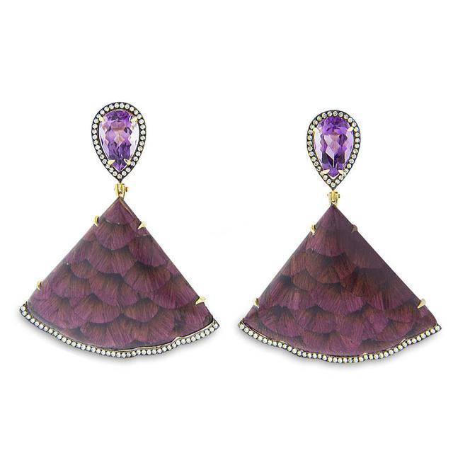 Swoonery-Marquetry Roxinho Purple Wood Earrings