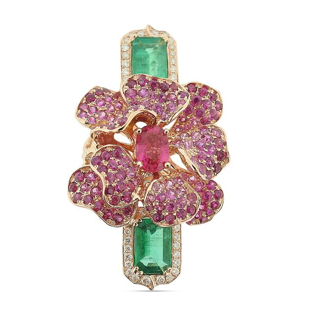 Swoonery-Emerald and Ruby Exotic Bloom Dinner Ring