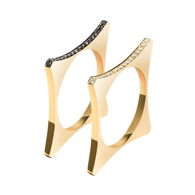 Swoonery-White and Black Diamond Catherine Ring