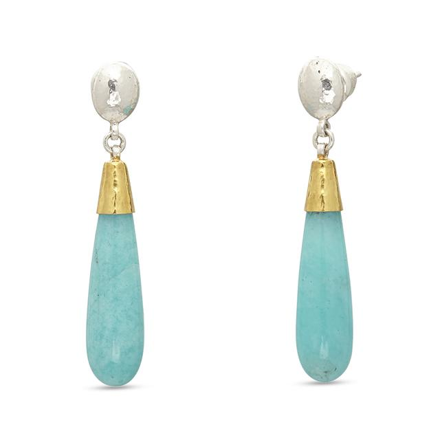 Swoonery-Galapagos Amazonite Sterling Silver Earrings