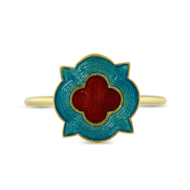 Swoonery-Blue And Red Holi Enamel Ring