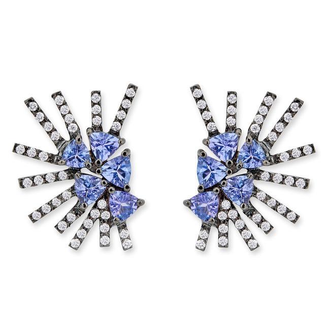 Swoonery-Parrot Mini earrings - Tanzanite Black Rhodium