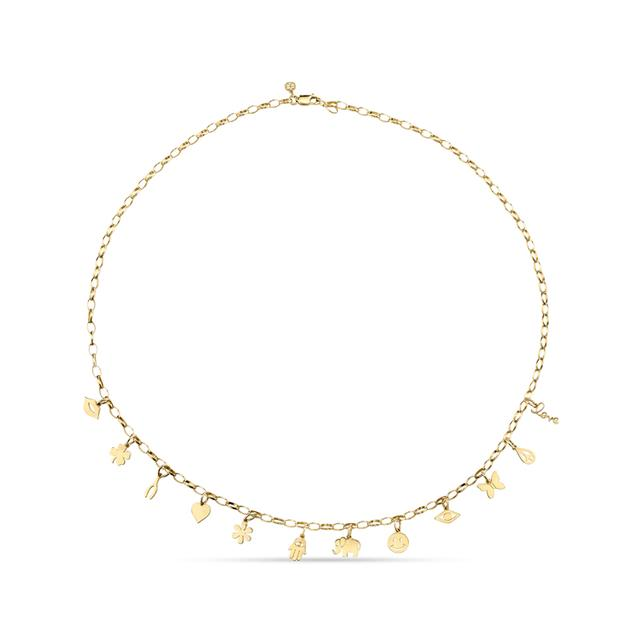 Swoonery-Yellow Gold Charm Necklace