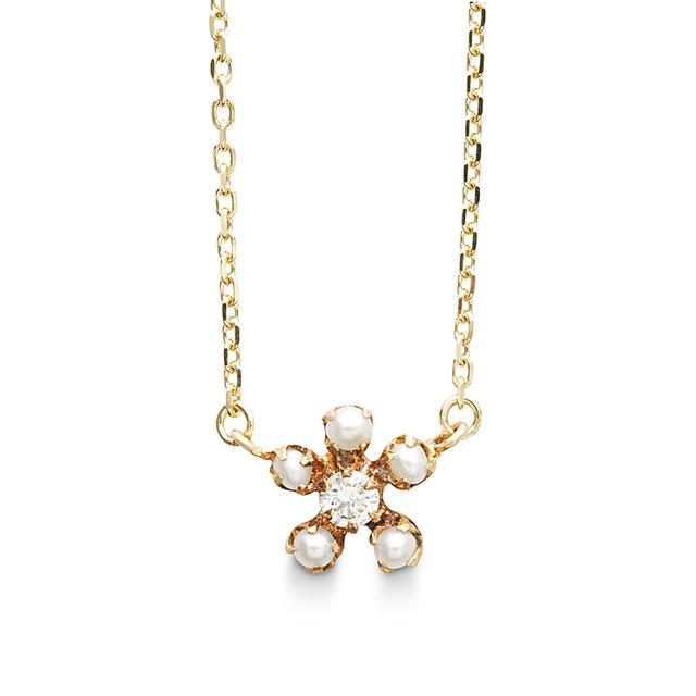 Swoonery-Pearl And Diamond Necklace