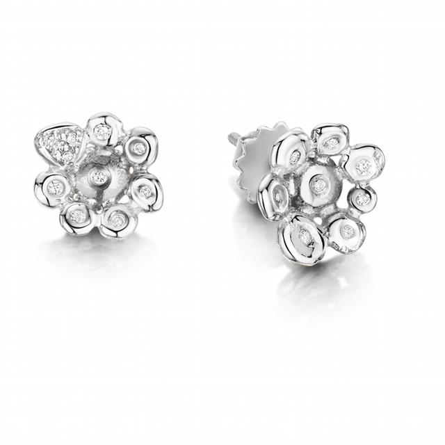 Swoonery-Coalescence Diamond White Gold Stud Ear