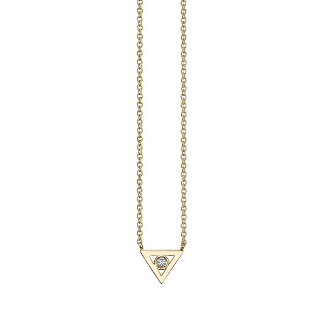 Swoonery-Bezel Triangle Necklace