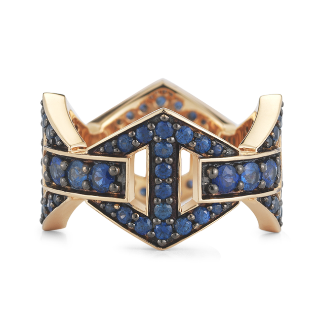 Swoonery-Keynes Large Signature Sapphire Hexagon Ring