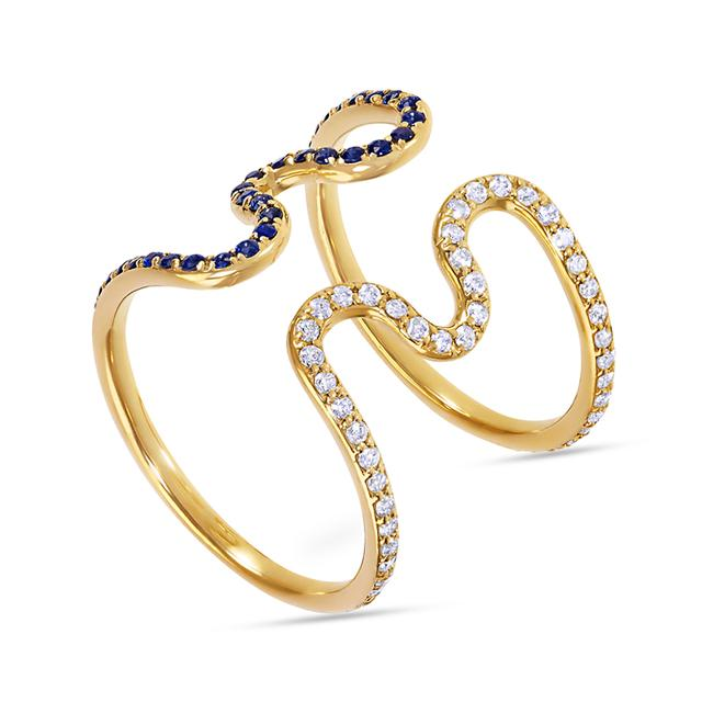 Swoonery-Open Wiggly Ring set with Diamonds and Blue Sapphires
