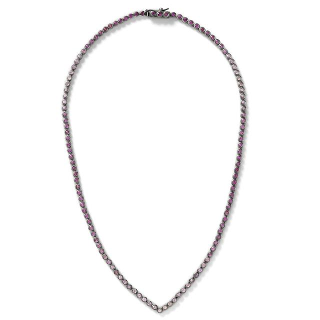 Swoonery-Pink Sapphire V Tennis Necklace