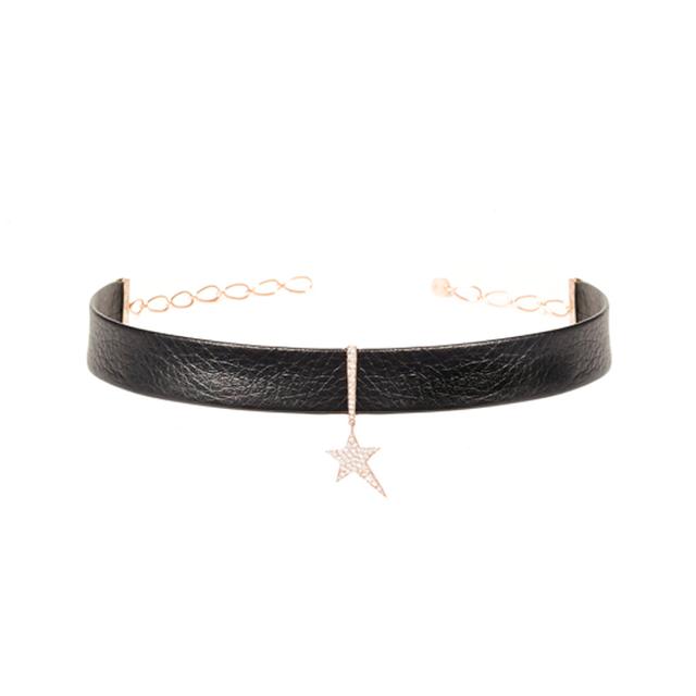 Swoonery-Diamond Star Leather Choker