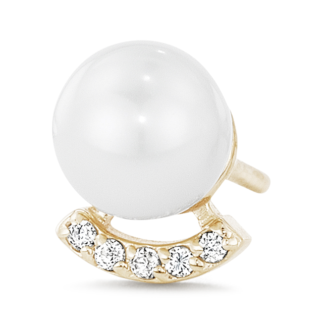 Swoonery-Pearl Stud with Pave Bar