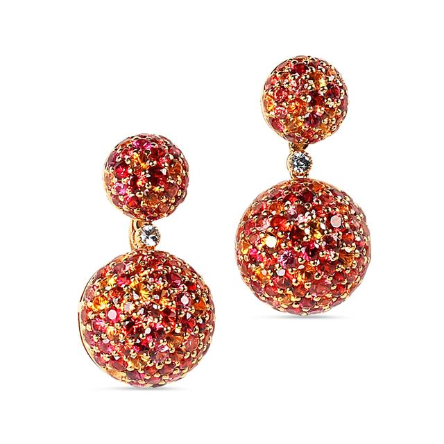Swoonery-Orange Sphere Drop Earrings