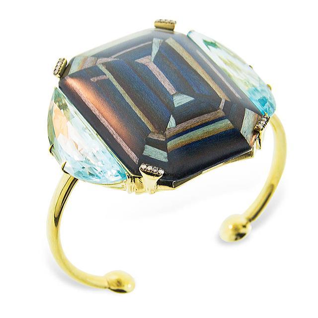 Swoonery-Marquetry Geometric Blue Wood Bracelet