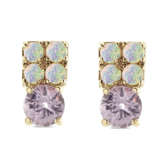 Swoonery-Amethyst and Austrailian Opal Stud Earring