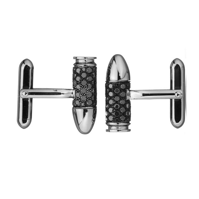 Swoonery-White Gold Black Diamond Bang Bang Cufflinks