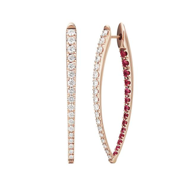 Swoonery-Diamond and Ruby Large Cristina Earrings