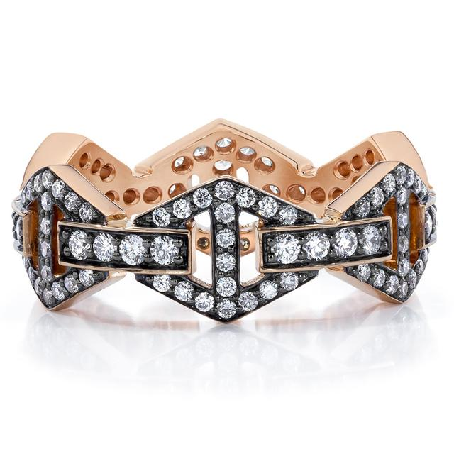 Swoonery-Keynes All Diamond Hexagon Stackable Ring