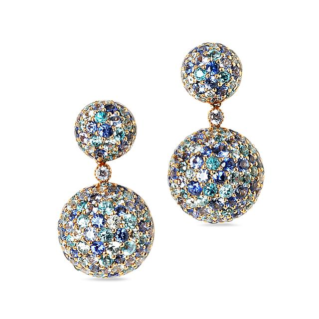 Swoonery-Blue Sphere Drop Earrings