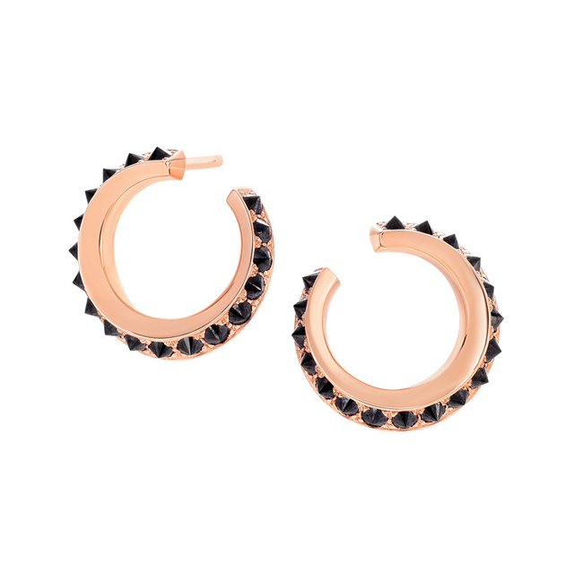 Swoonery-Black Diamond Sumerian Spike Twist Hoops